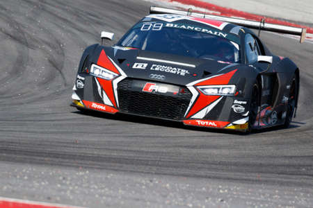 enzo: Misano Adriatico, Italy - April 10, 2016: Audi R8 LMS of Belgian Audi Club Team WRT, driven by Enzo Ide and Christopher Mies,  the Blancpain GT Series Sprint Cup in Misano World Circuit.