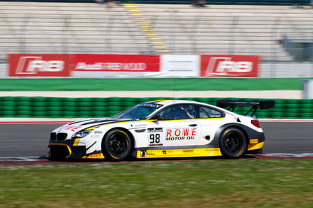 nick: Misano Adriatico, Italy - April 10, 2016: BMW F13 M6 GT3 of Rowe Racing Team, driven by Stef Dusseldorp  and Nick Catsburg,  the Blancpain GT Series Sprint Cup in Misano World Circuit. Editorial