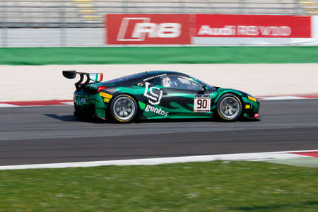 perez: Misano Adriatico, Italy - April 10, 2016: Ferrari 458 Italia GT3 of AF Corse Team, driven by Raffaele Giammaria and Ezequiel Perez Companc,  the Blancpain GT Series Sprint Cup in Misano World Circuit. Editorial