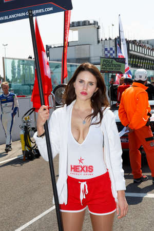gt: Misano Adriatico, Italy - April 10, 2016: A grid girl poses during the Blancpain GT Series Sprint Cup in Misano World Circuit, in Misano Adriatico, Italy.