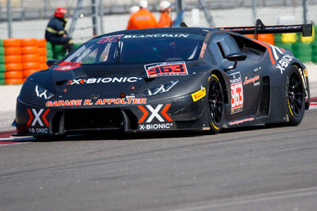 laurent: Misano Adriatico, Italy - April 10, 2016: Lamborghini Huracan GT3  of X-Bionic Racing Team, driven by Laurent Jenny and Cedric Leimer,  the Blancpain GT Series Sprint Cup in Misano World Circuit.