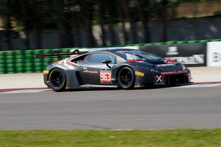gt: Misano Adriatico, Italy - April 10, 2016: Lamborghini Huracan GT3  of X-Bionic Racing Team, driven by Laurent Jenny and Cedric Leimer,  the Blancpain GT Series Sprint Cup in Misano World Circuit.