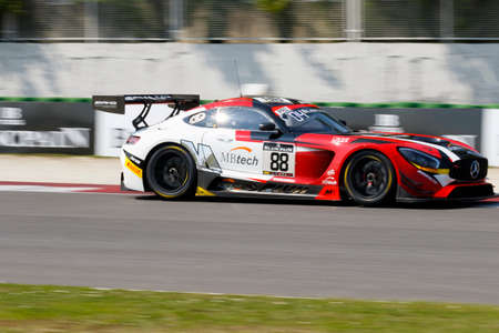 asp: Misano Adriatico, Italy - April 10, 2016: Mercedes-AMG GT3 of AKKA ASP Team, driven by Tristan Vautier and Felix Rosenqvist,  the Blancpain GT Series Sprint Cup in Misano World Circuit. Editorial