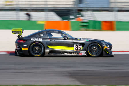 gt: Misano Adriatico, Italy - April 10, 2016: Mercedes-AMG GT3 of HTP Motorsport Team, driven by Clemens Schmid and Jazeman Jafaar,  the Blancpain GT Series Sprint Cup in Misano World Circuit. Editorial