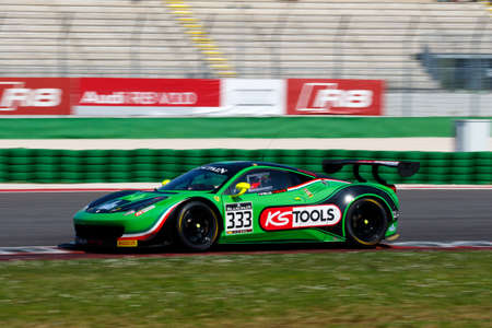 adriatico: Misano Adriatico, Italy - April 10, 2016: Ferrari 458 Italia GT3 of Rinaldi Racing Team, driven by Marco Seefried and Norbert Siedler,  the Blancpain GT Series Sprint Cup in Misano World Circuit. Editorial