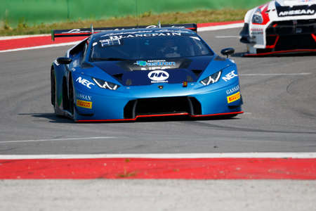 gt3: Misano Adriatico, Italy - April 10, 2016: Lamborghini Huracan GT3 of Attempto Racing Team, driven by Max Van Splunteren and Jeroen Mul,  the Blancpain GT Series Sprint Cup in Misano World Circuit. Editorial