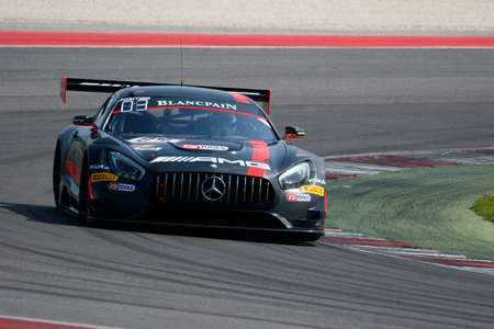 gt3: Misano Adriatico, Italy - April 10, 2016: Mercedes-AMG GT3 of HTP Motorsport Team, driven by Dominik Baumann and Maximilian Buhk,  the Blancpain GT Series Sprint Cup in Misano World Circuit.