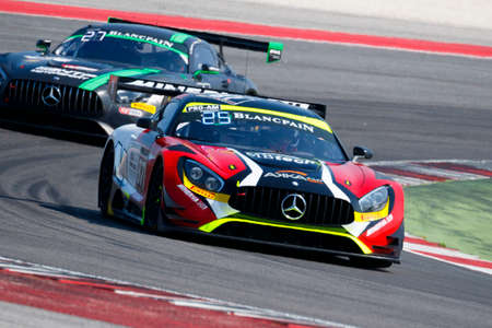 asp: Misano Adriatico, Italy - April 10, 2016: Mercedes-AMG GT3 of AKKA ASP Team, driven by Jean-Luc Beaubelique and  Morgan Moullin-Traffort,  the Blancpain GT Series Sprint Cup in Misano World Circuit.
