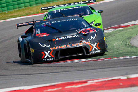 gt3: Misano Adriatico, Italy - April 10, 2016: Lamborghini Huracan GT3  of X-Bionic Racing Team, driven by Laurent Jenny and Cedric Leimer,  the Blancpain GT Series Sprint Cup in Misano World Circuit.