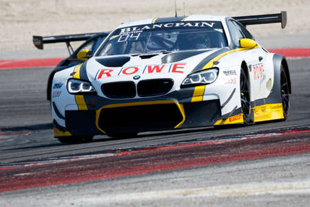 gt3: Misano Adriatico, Italy - April 10, 2016: BMW F13 M6 GT3 of Rowe Racing Team, driven by Philipp Eng and Alexander Sims,  the Blancpain GT Series Sprint Cup in Misano World Circuit.