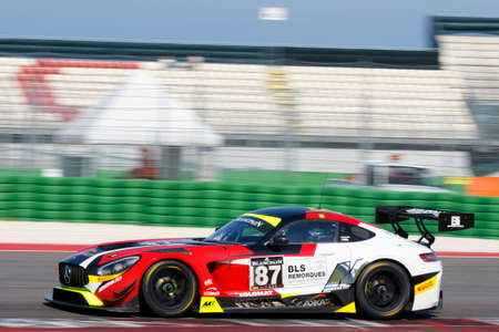 gt3: Misano Adriatico, Italy - April 10, 2016: Mercedes-AMG GT3 of AKKA ASP Team, driven by Jean-Luc Beaubelique and  Morgan Moullin-Traffort,  the Blancpain GT Series Sprint Cup in Misano World Circuit.