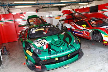 gt3: Misano Adriatico, Italy - April 10, 2016: Ferrari 458 Italia GT3 of AF Corse Team, driven by Raffaele Giammaria and Ezequiel Perez Companc,  the Blancpain GT Series Sprint Cup in Misano World Circuit. Editorial