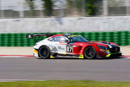 gt: Misano Adriatico, Italy - April 10, 2016: Mercedes-AMG GT3 of AKKA ASP Team, driven by Jean-Luc Beaubelique and  Morgan Moullin-Traffort,  the Blancpain GT Series Sprint Cup in Misano World Circuit.