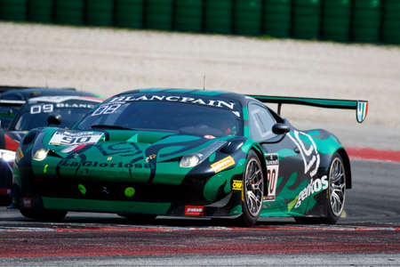 gt3: Misano Adriatico, Italy - April 10, 2016: Ferrari 458 Italia GT3 of AF Corse Team, driven by Raffaele Giammaria and Ezequiel Perez Companc,  the Blancpain GT Series Sprint Cup in Misano World Circuit. Editorial