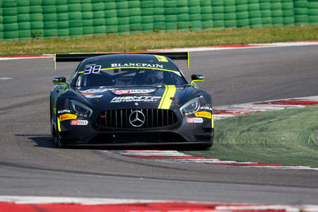 gt3: Misano Adriatico, Italy - April 10, 2016: Mercedes-AMG GT3 of HTP Motorsport Team, driven by Clemens Schmid and Jazeman Jafaar,  the Blancpain GT Series Sprint Cup in Misano World Circuit. Editorial