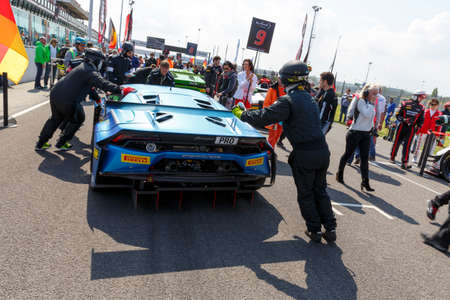 gt3: Misano Adriatico, Italy - April 10, 2016: Lamborghini Huracan GT3 of Attempto Racing Team, driven by Daniel Zampieri and  Patric Niederhauser,  the Blancpain GT Series Sprint Cup in Misano World Circuit. Editorial