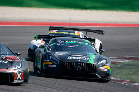 gt3: Misano Adriatico, Italy - April 10, 2016: Mercedes-AMG GT3 of HTP Motorsport Team, driven by Jules Szymkowiak, Bernd Schneider,  the Blancpain GT Series Sprint Cup in Misano World Circuit.