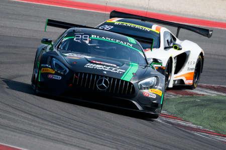 gt3: Misano Adriatico, Italy - April 10, 2016: Mercedes-AMG GT3 of HTP Motorsport Team, driven by Jules Szymkowiak, Bernd Schneider,  the Blancpain GT Series Sprint Cup in Misano World Circuit.