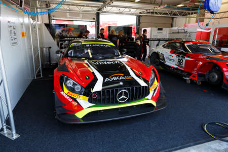 felix: Misano Adriatico, Italy - April 10, 2016: Mercedes-AMG GT3 of AKKA ASP Team, driven by Tristan Vautier and Felix Rosenqvist,  the Blancpain GT Series Sprint Cup in Misano World Circuit. Editorial