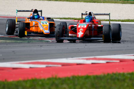brandt: Misano Adriatico, Italy - April 10, 2016: A Tatuus F4 T014 Abarth of Lechner Racing Gmbh Team, driven by Brandt Yannik Christopher,  the Italian F4 Championship Powered by Abarth in Misano World Circuit