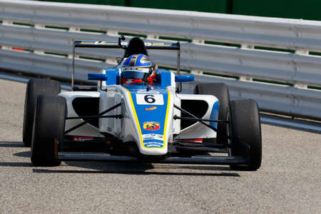 powered: Misano Adriatico, Italy - April 10, 2016: A Tatuus F4 T014 Abarth of Vincenzo Sospiri Racing, driven by Conwright Jaden,  the Italian F4 Championship Powered by Abarth in Misano World Circuit