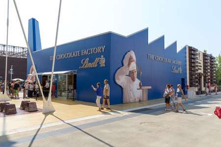 lindt: Milan, Italy, 12 August 2015: Detail of the Chocolate Districts pavilion at the exhibition Expo 2015 Italy. Editorial