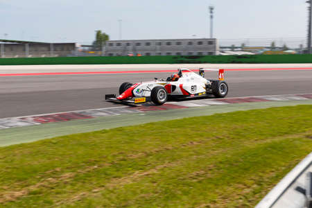 dr: Misano Adriatico, Italy - April 10, 2016: A Tatuus F4 T014 Abarth of DR Formula Team, driven by Guzman Marchina Raul,  the Italian F4 Championship Powered by Abarth in Misano World Circuit Editorial
