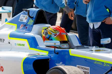 corse: Misano Adriatico, Italy - April 10, 2016: A Tatuus F4 T014 Abarth of Torino Squadra Corse Team, driven by Iribarne Federico,  the Italian F4 Championship Powered by Abarth in Misano World Circuit Editorial