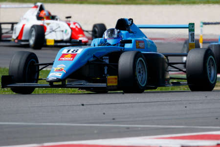 powered: Misano Adriatico, Italy - April 10, 2016: A Tatuus F4 T014 Abarth of Jenzer Motorsport Team, driven by Siebert Marcos,  the Italian F4 Championship Powered by Abarth in Misano World Circuit