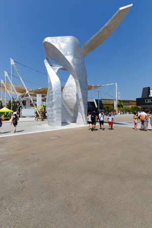 italia: Milan, Italy,12 August 2015: view of Piazza Italia at exhibition Expo 2015 Italy.