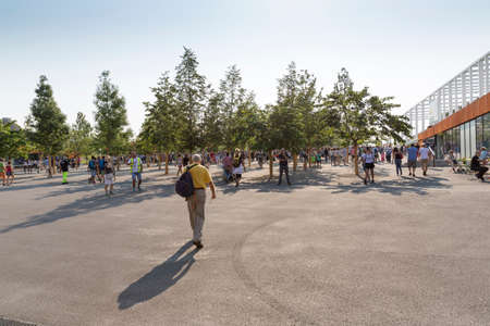 security check: Milan, Italy – 12 August 2015: Visitors queue for security check at the main entrance at Expo 2015, universal exposition on the theme of food 12 August, 2015 in Milan