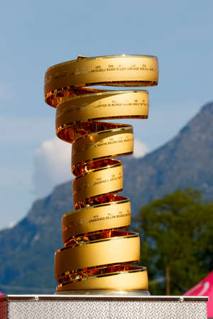 Farra dAlpago lake Santa Croce, Italy - May21, 2016: the trophy prior to the start of the 99th Tour of Italy 2016 from Farra dAlpago to Corvara.