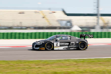 adriatico: Misano Adriatico, Italy - April 10, 2016: Audi R8 LMS Ultra of W Racing Team, driven by Jean Michel Baert,  the Blancpain GT Sports Club Main Race in Misano World Circuit.