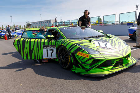 gt3: Misano Adriatico, Italy - April 10, 2016: Lamborghini Gallardo GT3 of HP Racing Team, driven by Coach McKansy,  the Blancpain GT Sports Club Main Race in Misano World Circuit.