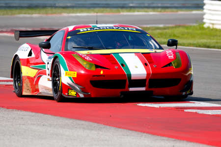 corse: Misano Adriatico, Italy - April 10, 2016: Ferrari 458 Italia GTE of AF Corse Team, driven by Christoph Ulrich,  the Blancpain GT Sports Club Main Race in Misano World Circuit.