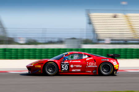 corse: Misano Adriatico, Italy - April 10, 2016: Ferrari 458 Italia GTE of AF Corse Team, driven by Pierguiseppe Perazzini,  the Blancpain GT Sports Club Main Race in Misano World Circuit.