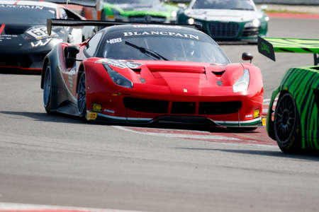 corse: Misano Adriatico, Italy - April 10, 2016: Ferrari 488 GT3 of AF Corse SRL Team, driven by Patrick Van Glabeke,  the Blancpain GT Sports Club Main Race in Misano World Circuit.