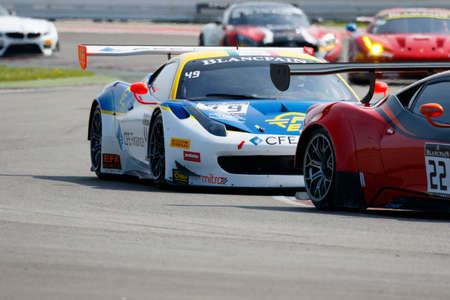 gt3: Misano Adriatico, Italy - April 10, 2016: Ferrari 458 Italia GT3 of AF Corse Team, driven by Mario Cordoni,  the Blancpain GT Sports Club Main Race in Misano World Circuit.