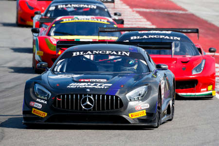 gt3: Misano Adriatico, Italy - April 10, 2016: Mercedes AMG GT3 of HTP Motorsport Team, driven by Willem Paulys de Pundert,  the Blancpain GT Sports Club Main Race in Misano World Circuit.