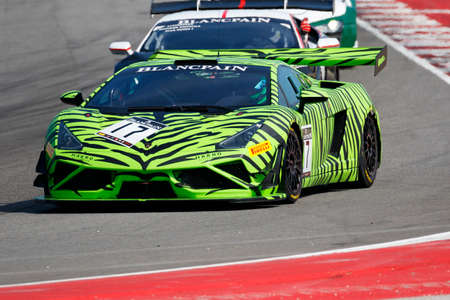 gallardo: Misano Adriatico, Italy - April 10, 2016: Lamborghini Gallardo GT3 of HP Racing Team, driven by Coach McKansy,  the Blancpain GT Sports Club Main Race in Misano World Circuit.