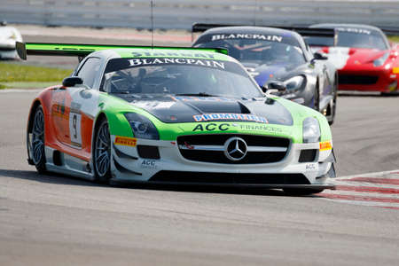 adriatico: Misano Adriatico, Italy - April 10, 2016: Mercedes SLS GT3of JPB Racing Team, driven by Jean Paul Buffin,  the Blancpain GT Sports Club Main Race in Misano World Circuit.