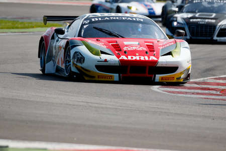 pons: Misano Adriatico, Italy - April 10, 2016: Ferrari 458 Italia GTE of AKKA ASP Team, driven by Anthony Pons,  the Blancpain GT Sports Club Main Race in Misano World Circuit. Editorial