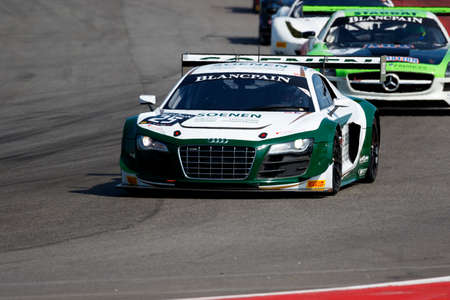 adriatico: Misano Adriatico, Italy - April 10, 2016: Audi R8 LMS Ultra of WRT Team, driven by Louis Philippe Soenen,  the Blancpain GT Sports Club Main Race in Misano World Circuit. Editorial