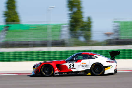 asp: Misano Adriatico, Italy - April 10, 2016: Mercedes -AMG GT3 of AKKA ASP Team, driven by Maurice RicciI,  the Blancpain GT Sports Club Main Race in Misano World Circuit.