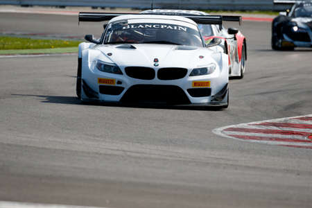 gt3: Misano Adriatico, Italy - April 10, 2016: BMW Z4 GT3  of CMR by P.Hirschi  Team, driven by Pierre Hirschi ,  the Blancpain GT Sports Club Main Race in Misano World Circuit.