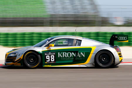 sports track: Misano Adriatico, Italy - April 10, 2016: Audi R8 LMS Ultra of JB Motorsport Team, driven by Jan Brunstedt  ,  the Blancpain GT Sports Club Main Race in Misano World Circuit.