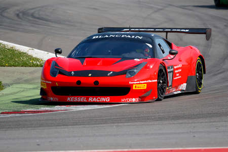 gt3: Misano Adriatico, Italy - April 10, 2016: Ferrari 458 Italia GT3 of Kessel Racing Team, driven by Stephen Earle,  the Blancpain GT Sports Club Main Race in Misano World Circuit.