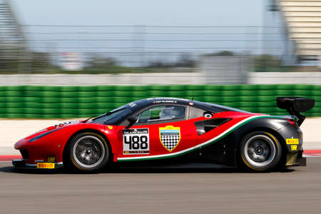 adriatico: Misano Adriatico, Italy - April 10, 2016: Ferrari 488 GT3 of AF Corse SRL Team, driven by Patrick Van Glabeke,  the Blancpain GT Sports Club Main Race in Misano World Circuit.