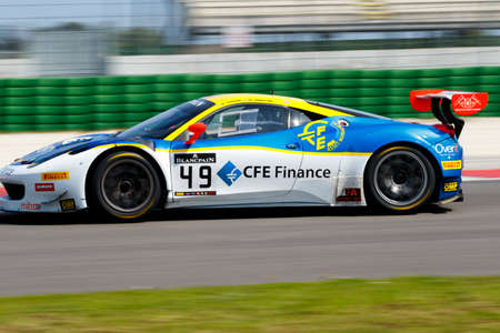 mario: Misano Adriatico, Italy - April 10, 2016: Ferrari 458 Italia GT3 of AF Corse Team, driven by Mario Cordoni,  the Blancpain GT Sports Club Main Race in Misano World Circuit.