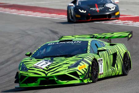 gt3: Misano Adriatico, Italy - April 10, 2016: Lamborghini Gallardo GT3 of HP Racing Team, driven by Coach McKansy,  the Blancpain GT Sports Club Main Race in Misano World Circuit.